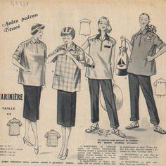 """Patron vintage femme,  marinière, supplément à la revue """"votre mode""""  1952."""