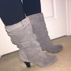 """Kelly & Katie heeled boots. Lightly worn Kelly & Katie gray suede boot. Has a great slouch effect with buckles on outer side of each boot. Has about a 3"""" heel which isn't to high to still keep the boot comfortable for a day out. Looks great paired with leggings or jeans! Kelly & Katie Shoes Heeled Boots"""