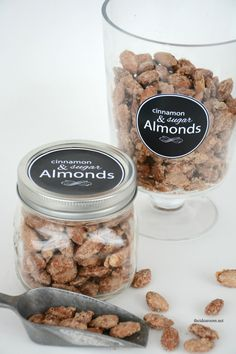Cinnamon and Sugar Almonds Holiday Gift idea from MichaelsMakers The Idea Room Candy Recipes, Holiday Recipes, Snack Recipes, Dessert Recipes, Cooking Recipes, Desserts, Appetizer Recipes, Candied Almonds, Cinnamon Almonds