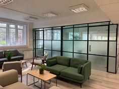 FRAMEWORKS (Westminster, London): Full Office Fit-Out Using Black Industrial Warehouse Glazed Partitions [Our Alternative to Steel Framed Glazing] Beautiful Space, Glass Partition, Black Industrial, Glass Wall, Industrial Warehouse, Industrial Office Design, Interior, Glass Office Partitions, Steel Frame