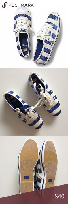 NWOT Kate Spade Keds Blue Glitter & White Stripes Keds for Kate Spade size 9 in super cute white and royal blue glitter stripes. Only tried on in store. No box. Comes with two pairs of laces in blue and white. kate spade Shoes Sneakers