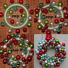 diy ornament wreath using styrofoam base (my step one would be, especially if you are hanging on a glass door or window, is to wrap styrofoam base with a coordinating ribbon for a polished finished look) from matt and becky