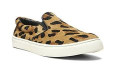 Fashion Leopard Skateboard Shoes Round Toe Slip On Sneakers Genuine Horsehair Comfortable Loafers Flat Shoes $74.99