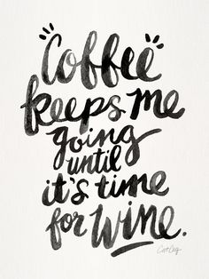 Coffee & Wine – Black Ink Art Print by Cat Coquillette | Society6