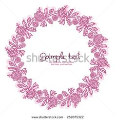 card with floral pattern. wreath of stylized flowers.