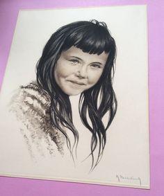 Mooie originele kunstwerken 1940, folklore heerlijk Mexicaans meisje portret, aantal kinderen, ondertekend illustraties, origineel, vintage.