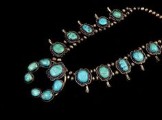194g Vintage Navajo Sterling Silver Squash Blossom Necklace w Colorful Blue Gem Turquoise! Warm Rich patina! Fabulous Old Piece!