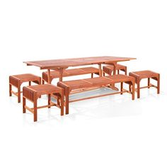 7-Piece Dining Set with Extension Table and Backless Benches