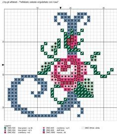 alfabeto celeste virgolettato con rosa: J