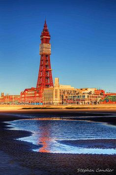 Reflections Of Blackpool Tower Along the beach at Blackpool, Lancashire, England British Seaside, British Summer, British Isles, Blackpool Beach, Blackpool Pleasure Beach, Paris Torre Eiffel, Blackpool England, Hdr Photography, Great Britain