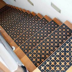 """Shop for Rubber-Cal """"Stars"""" Recycled Rubber Step Mat - Black Stair Tread - 6 pcs. Get free delivery On EVERYTHING* Overstock - Your Online Home Decor Shop! Balustrades, Banisters, Stair Treads, Stair Banister, Stair Steps, Railings, Basement Stairs, House Stairs, Carpet Stairs"""