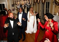 On Thursday, the 35-year-old pregnant star shared images to beyonce.com where she is seen in a plunging white dress that makes her look like a modern-day goddess while at a private home.