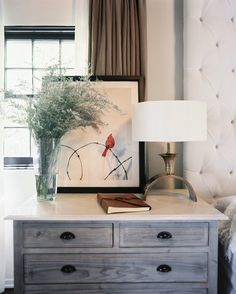 Rustic Bedside Table | August 2012 Issue, Estee Stanley, Marble-topped painted furniture