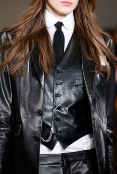 Ralph Lauren Collection Fall 2015: Quintessential menswear-inspired tailoring meets supple, polished leather in the slim-fitting Roland vest. Wear it with our Leather Jacket and Leather Pant for a sleek suiting look.