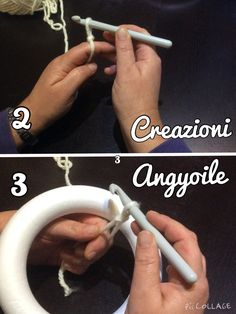 creazioni angyoile: Tutorial rivestire le ghirlande con l'uncinetto Yarn Crafts, Home Crafts, Diy And Crafts, Santa Wreath, Crochet Christmas Decorations, Christmas Activities, Felt Flowers, Make It Yourself, Blog
