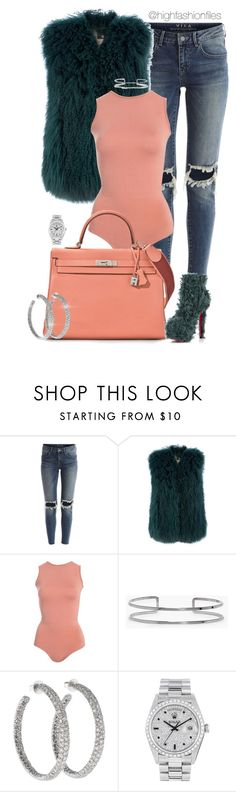 """""""Untitled #2711"""" by highfashionfiles ❤ liked on Polyvore featuring VILA, SLY 010, Boohoo, Lorraine Schwartz and Rolex"""