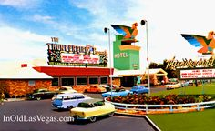 View of the Front Exterior of the 1948 Thunderbird Hotel & Casino in Las     Vegas.