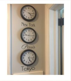 Time Zone Decal - City Names Decal - City Names for Clocks - Bucket List - Favorite Cities - Favorite City Time Zones - DIY Time Zone Clocks by NashSignsAndGraphix on Etsy Wall Clock Time Zones, Time Zone Clocks, Time Clock, Clock Display, Clock Decor, Clock Wall, World Time Zones, Aviation Decor, World Clock