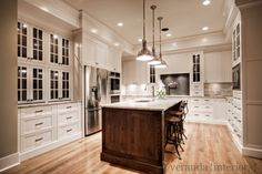 love everything except the floors.... kitchens - Benjamin Moore - White Dove - Restoration Hardware Harmon Pendant Benjamin Moore White Dove Restoration Hardware Vintage Toledo Chair two-tone creamy white kitchen cabinets coffee stained oak kitchen island River White granite countertops double ovens