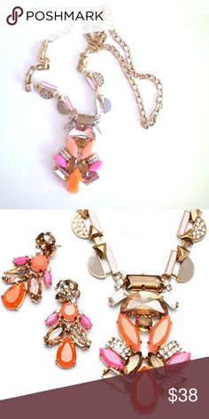 """Geo Pop Pendant Necklace by Stella & Dot Give any outfit an instant update with pops of pink, shades of orange, and hand-set neutral sparkle in a gold-plated castings. Can be worn long or short. 28"""" inch longest length; 20"""" shortest length. Lobster clasp closure. EUC; only used for display purposes. Stella & Dot Jewelry Necklaces"""
