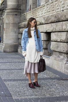jacket/Front Row Shop, cashmere knit/MMM for H&M, satin skirt/ZARA, bag/ZARA, sunnies/H&M, mules/ZARA