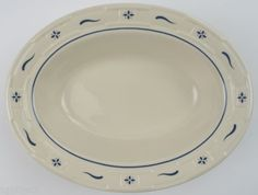Longaberger-Pottery-China-Woven-Traditions-Classic-Blue-Oval-Vegetable-Bowl Ebay $52.99