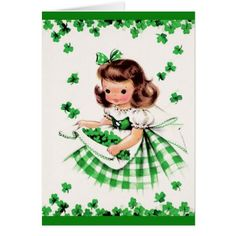Shop Vintage Cute Girl Shamrock St Patrick's Day Card created by kinhinputainwelte. St Patricks Day Cards, Happy St Patricks Day, Saint Patrick, Vintage Cards, Vintage Postcards, Poster Vintage, Vintage Gifts, Vintage Paper, St Patrick Day Treats