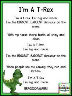 I'm A T-Rex poem! Dinosaur Classroom, Dinosaur Theme Preschool, Dinosaur Activities, Preschool Songs, Preschool Lessons, Preschool Learning, Kids Songs, Toddler Activities, Dinosaur Crafts For Preschoolers