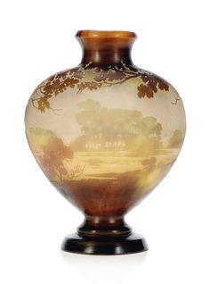 A GALLÉ DOUBLE OVERLAY CAMEO GLASS LANDSCAPE VASE -  CIRCA 1900