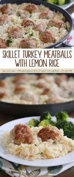 Turkey Meatballs with Lemon Rice This one-skillet turkey meatball and lemon rice dish is quick, easy, and terribly delicious.This one-skillet turkey meatball and lemon rice dish is quick, easy, and terribly delicious. Paleo Dinner, Dinner Recipes, I Love Food, Good Food, Clean Eating, Healthy Eating, Lemon Rice, Cooking Recipes, Healthy Recipes