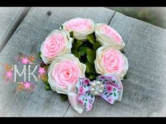Rose DIY. 2 ЧАСТИНА. Резинка на пучок(бублик)з трояндами та бантом. - YouTube