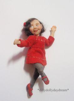 Miniature Handmade poseable MINi little Girl Ooak Dollhouse doll 1/12th scale | eBay
