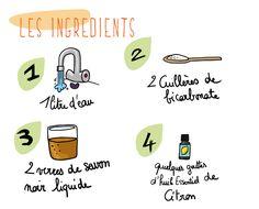 La recette du liquide vaisselle. A savoir, cette recette peut être utilisée pour laver toute la maison ! Cleaning Solutions, Cleaning Hacks, Organization Bullet Journal, Home Organisation, Sparkling Clean, Natural Cleaning Products, Green Life, Clean House, Zero Waste