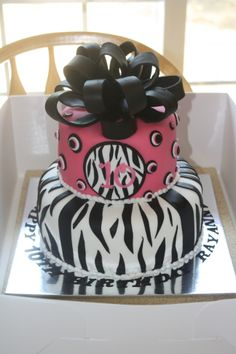 Tiered Pink and Black Zebra Print Cake. Michelle's Sweet Simplicity Cakes. Douglas Wyoming