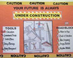 Under Construction Bulletin Board Construction Bulletin Boards, Construction Theme Classroom, Under Construction Theme, Classroom Bulletin Boards, Classroom Themes, School Classroom, School Wide Themes, School Ideas, Library Themes