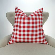 Red Plaid Pillow Cover MANY SIZES Check Pattern Gingham
