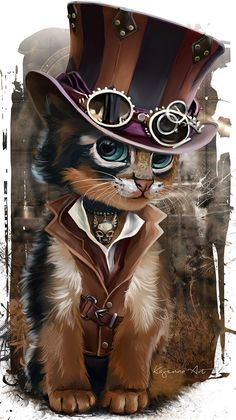 Pinning this steampunk cat to the Camilla board simply because I feel like it, not because it has any relevance to Cami whatsoever. Then this would be her 😝 (Steampunk Kitty by Kajenna) Cute Animal Drawings, Cute Drawings, Arte Steampunk, Steampunk Drawing, Steampunk Artwork, Steampunk Cosplay, Gothic Steampunk, Victorian Gothic, Gothic Lolita