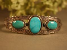 Vintage Fred Harvey Era Navajo TURQUOISE Sterling Silver Bracelet Signed JP #JP