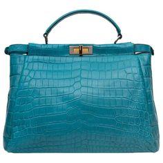 08a76e1fa84b Fendi Turquoise Blue Crocodile Leather Peekaboo Bag