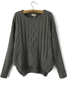 Pull tricoté en câble manche longue -gris  17.16