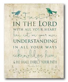 Take a look at this 'Trust in the Lord' Wrapped Canvas today!