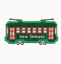 New Orleans Streetcar Applique Machine Embroidery by Cinch2Stitch