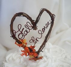 Rustic Vine Cake Topper Fall In Love Wedding by HandmadeAffair