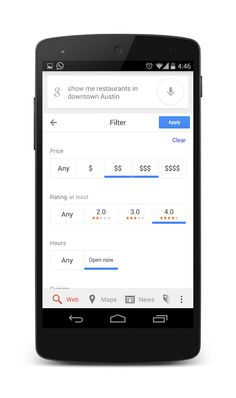 Google now provides the ability for users to filter out restaurants by cuisine, open time, price, and more. This is a great opportunity for users to find what they're looking for. Make sure that you have your Google Places account completely filled out so that you're business will show up in the correct categories.