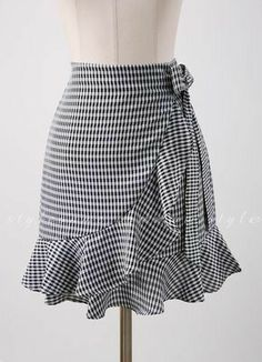 Gingham Print Ruffle Ribbon Tie Wrap Skirt - Romantic & Trendy Looks, Styleonme - Skirt Outfits, Dress Skirt, Ruffle Skirt, Cute Skirts, Urban Outfits, Mode Inspiration, Mode Style, Dress Patterns, African Fashion
