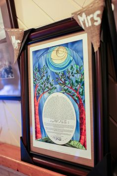 Ketubah with Blue, Green & Red Trees {Tiffany Caldwell Photography} - mazelmoments.com