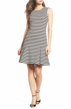 b524b29e9f3ec6 Main Image - Vince Camuto Stripe Scuba Crepe Fit & Flare Dress Fit Flare  Dress,