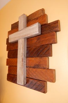 Wooden Cross with Tobacco Stick Backing by GrizzlyBearCreations