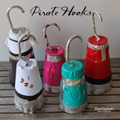 Pirate Hooks! Easy to make with a plastic hanger and a plastic cup!