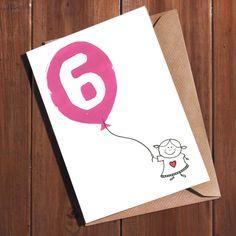 Six Year Old Card Age 6 Birthday 6th